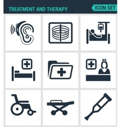 Set modern icons treatment and therapy vector