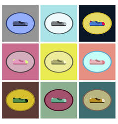 Assembly flat icons man shoe vector