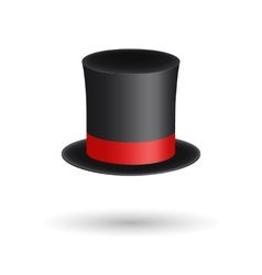 Black gentleman hat cylinder with red ribbon vector