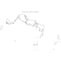 Black White Turks and Caicos Islands Outline Map vector image vector image