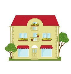 city building with a shop on the ground floor vector image