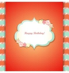 Cute orange and mint happy birthday card vector