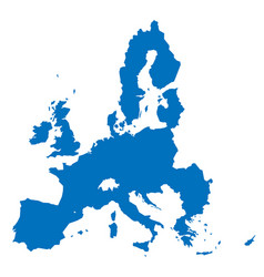 european union territory blue silhouette isolated vector image