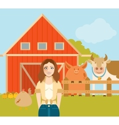Farmer woman and a flat farm vector image