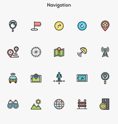 Flat line color icons Navigation vector image vector image