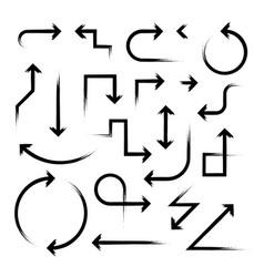 hand drawn arrow set on white vector image vector image
