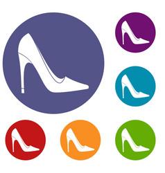 high heel shoe icons set vector image