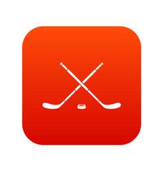 Hockey icon digital red vector