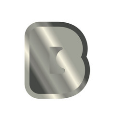 Letter b steel font metal alphabet sign iron abc vector