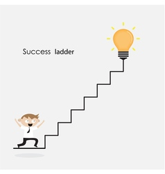Man on stairs going up and creative light bulb vector