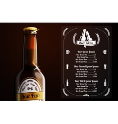 Menu template for beer and alcohol vector