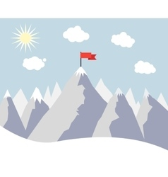 Mountain Peak with Red Flag vector image vector image