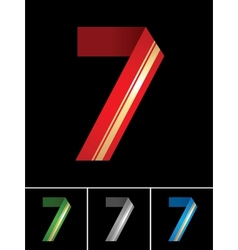 Numeral of paper tape - 7 vector image vector image