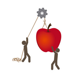 people with pulleys hanging the apple fruit vector image