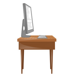 Personal computer and keyboard on table vector
