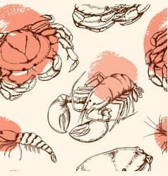 seamless pattern with crab vector image