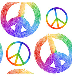 seamless texture with rainbow symbol of peace vector image