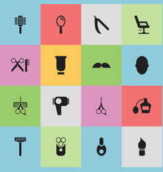 Set of 16 editable barber icons includes symbols vector