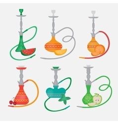 Set of hookah icons Labels for nargile shop or vector image