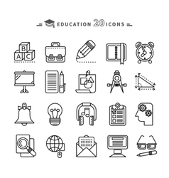 Set of Outline Education Icons on White Background vector image vector image
