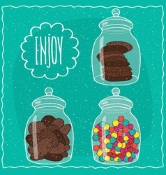 Set of transparent glass jars with sweets vector