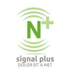 Signal letter n plus green alphabet wireless vector