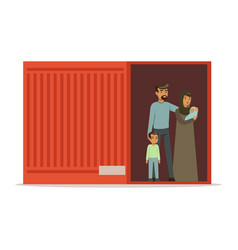 Stateless refugee family standing in cargo vector