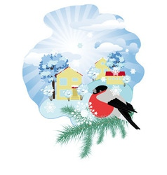 Winter in the village vector image