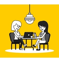 Woman Work with Laptop and Smartphone vector image vector image
