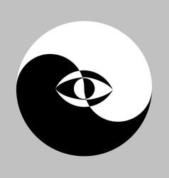 Yin yang symbol and eye vector