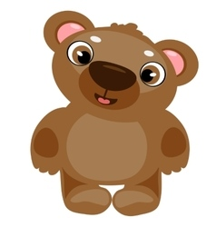 Toy brown cartoon bear isolated vector image