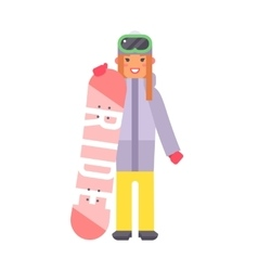 Skiing snowboard woman vector