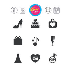 Wedding engagement icons cake gift box vector