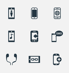 Set of simple icons elements worldwide net vector
