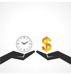 Hand hold dollar and clock symbol to compare vector