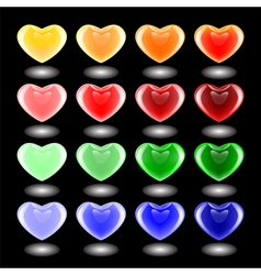 Set of design 3d multicolor heart icons vector