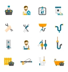 Plumber flat icons set vector