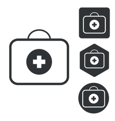 First-aid kit icon set monochrome vector