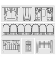 Icons of window with curtains vector