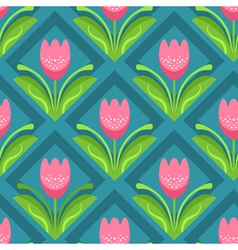 Seamless pattern with pink tulips vector