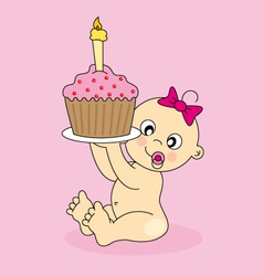 Baby girl birthday cake vector
