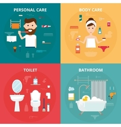 Man and woman hygiene icons set isolated on vector