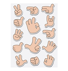 Collection of sticker gestures vector