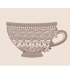 A cup of patterns on light brown background vector image vector image