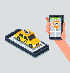 axi cab and mobile application vector image