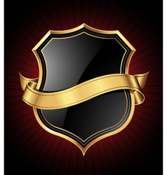 black and gold shield and ribbon vector image vector image