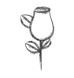 Blurred silhouette sketch rosebud with leaves and vector