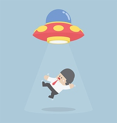 Businessman abducted by alien spaceship or ufo vector