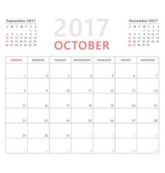 calendar planner 2017 october week starts sunday vector image