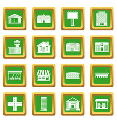 City infrastructure items icons set green vector